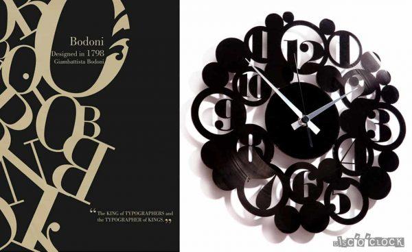 orologio da parete con disco in vinile con numeri