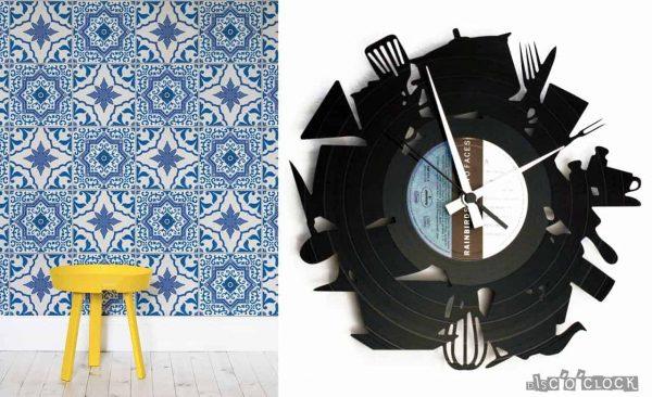 orologio da parete con disco in vinile per cucina