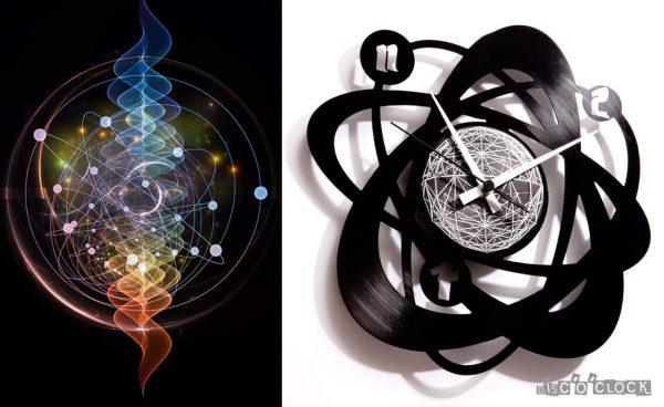 orologio da parete con disco in vinile con atomo