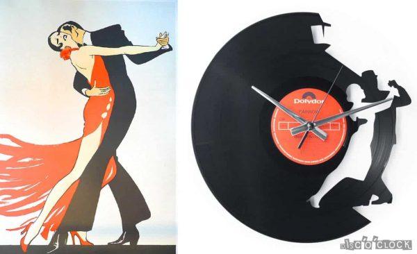 orologio da parete con disco in vinile con danzatori di tango