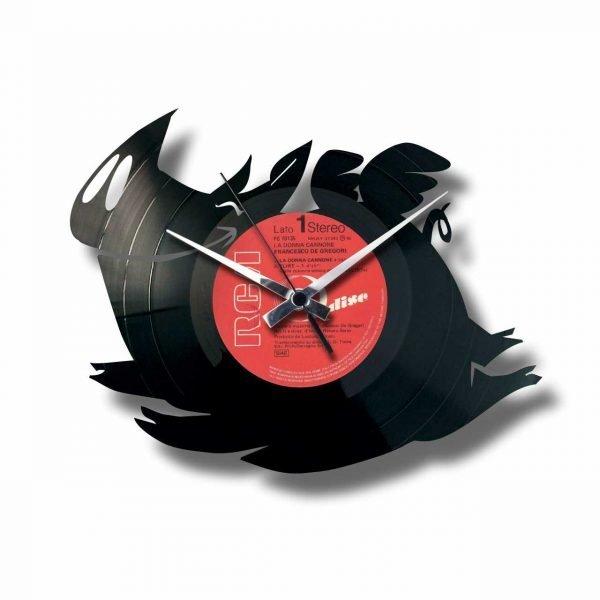 flying pig vinyl record clock