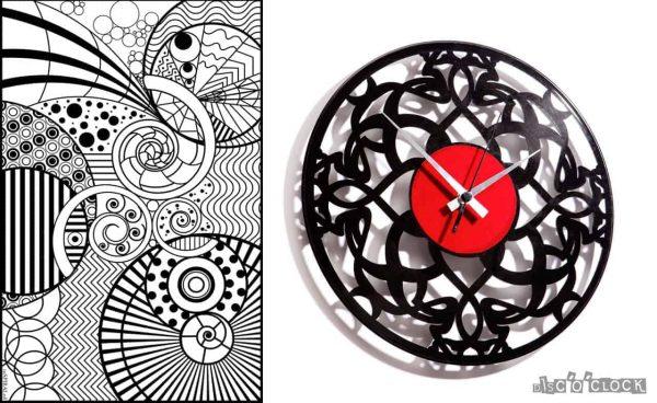 orologio da parete con disco in vinile in stile art deco'