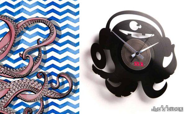 orologio da parete con disco in vinile con polipo dj