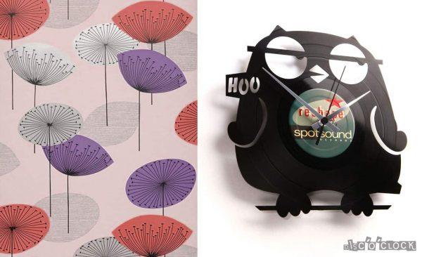 orologio da parete con disco in vinile con gufo simpatico