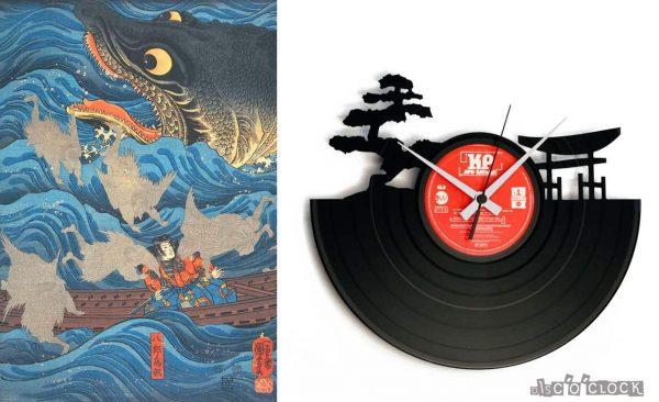 orologio da parete con disco in vinile a tema japponese
