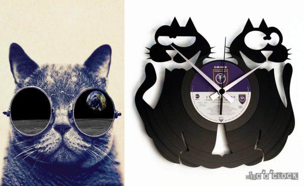 orologio da parete con disco in vinile con gatti
