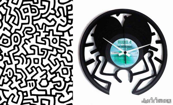 orologio da parete con disco in vinile keith haring