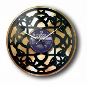 art deco gold vinyl record clock