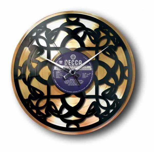 art deco gold vinyl record clock