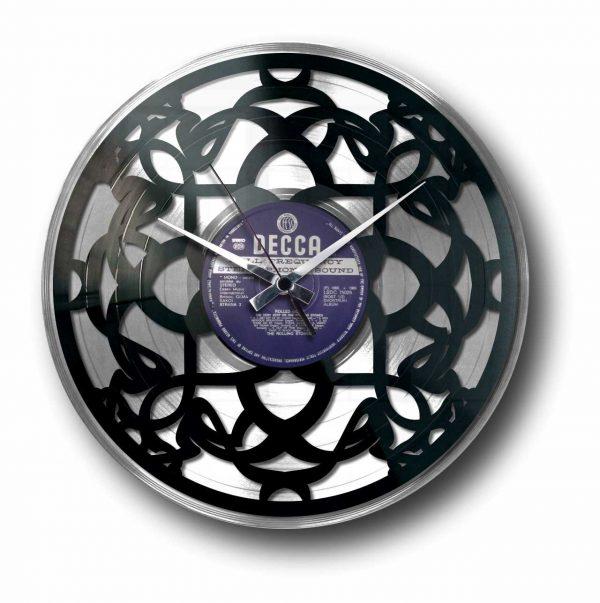 art deco silver vinyl record clock