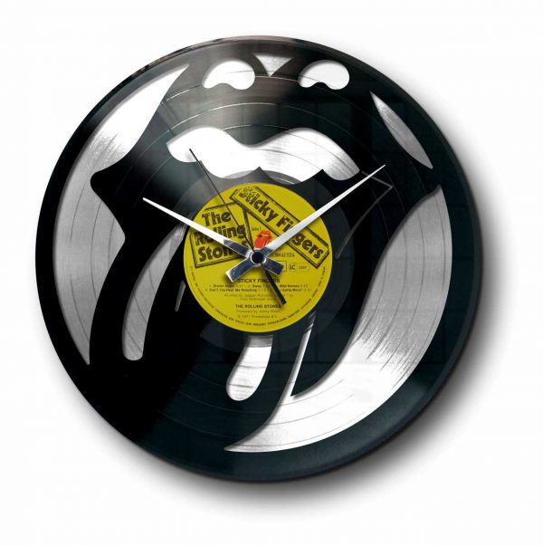 tribute rolling stones silver vinyl record wall clock