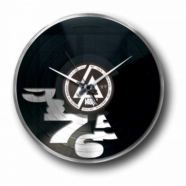 designer silver record clock