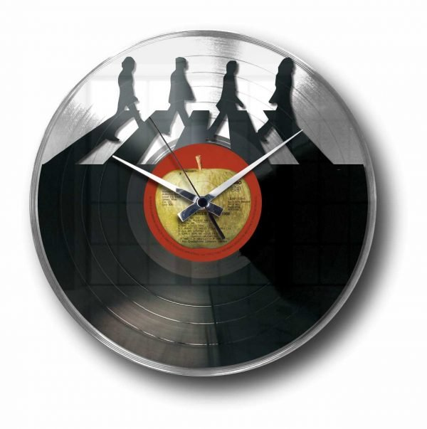 the beatless silver vinyl record wall clock