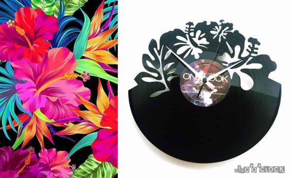 orologio da parete con disco in vinile con fiori