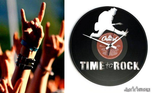 orologio da parete con disco in vinile time to rock