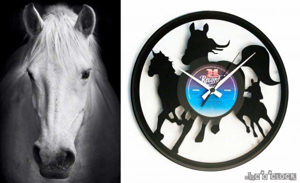 orologio da parete con disco in vinile con cavalli