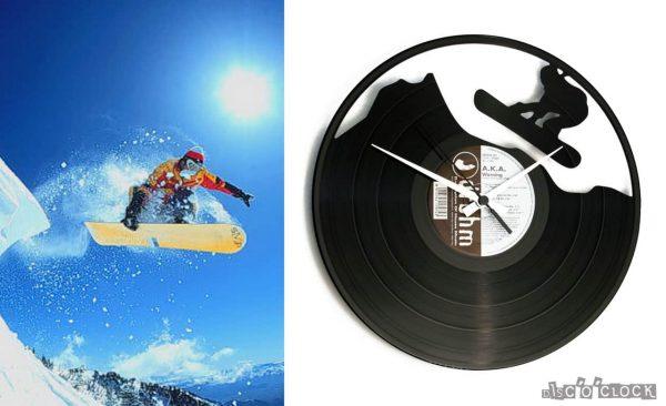 orologio da parete con disco in vinile con snowboarder