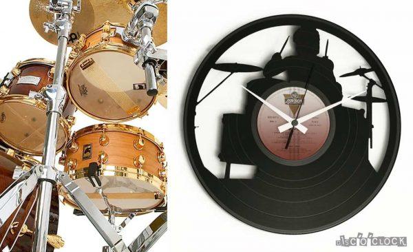 orologio da parete con disco in vinile con batterista e batteria
