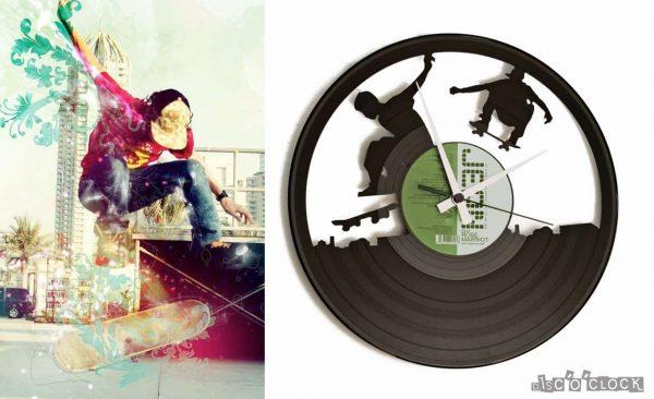 orologio da parete con disco in vinile con skateboarder skate