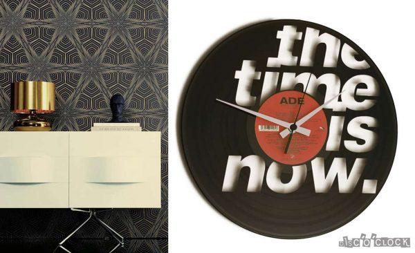 orologio da parete con disco in vinile con scritta the time is now