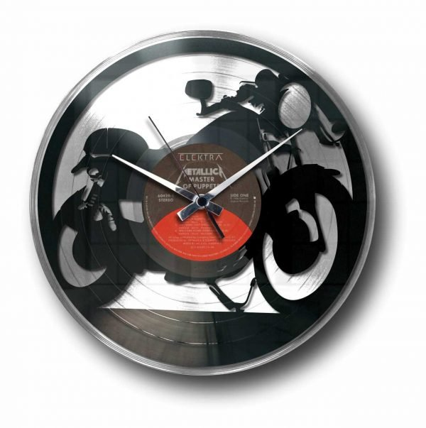 cafe racer bike silver vinyl record wall clock