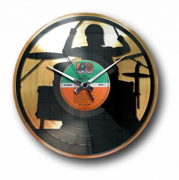 drummer gold vinyl record wall clock