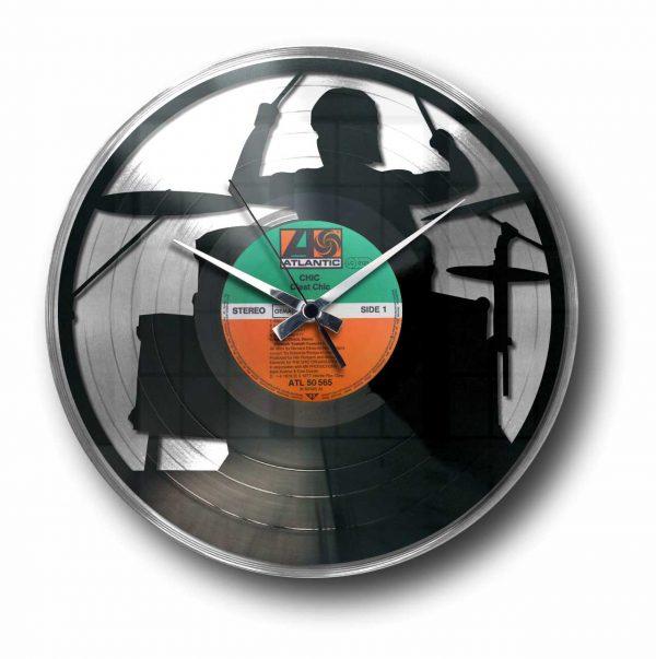 drummer silver vinyl record wall clock