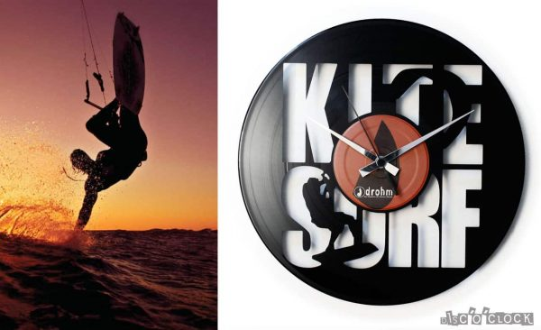 orologio da parete con disco in vinile con kite surf