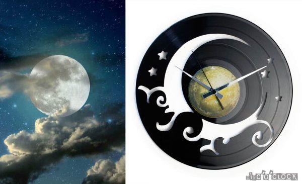 orologio da parete con disco in vinile con cielo luna e stelle