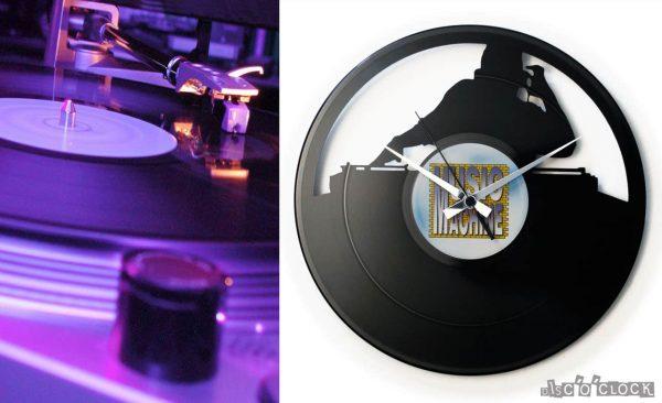 orologio da parete con disco in vinile con dj