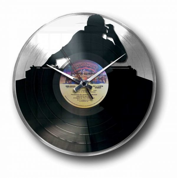 dj silver vinyl record wall clock