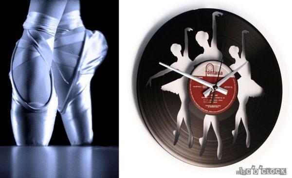 orologio da parete con disco in vinile con ballerine di balletto