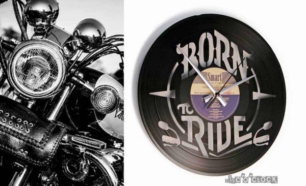Orologio da parete con disco in vinile a tema moto