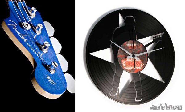 Orologio da parete con disco in vinile a tema rock and roll