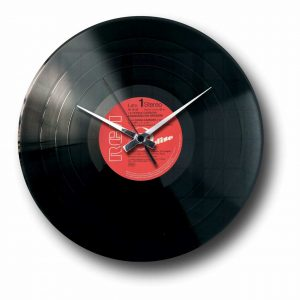 vinyl record clock with random record label