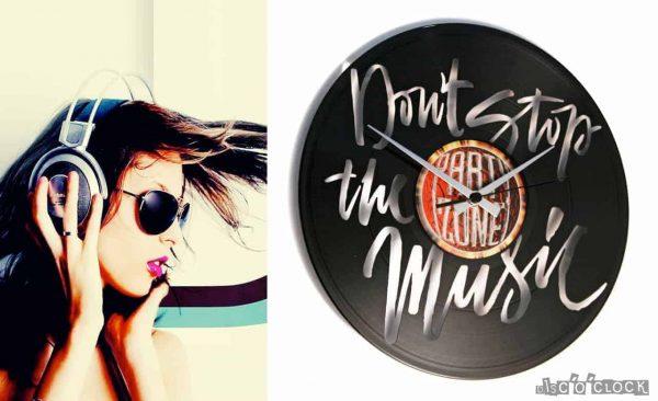 Orologio da parete con disco in vinile a tema musica