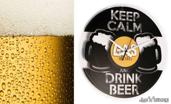 Orologio da parete con disco in vinile a tema birra