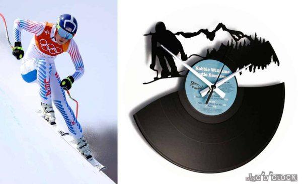 Orologio da parete con disco in vinile con sciatore