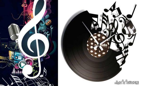 Orologio da parete con disco in vinile con note musicali