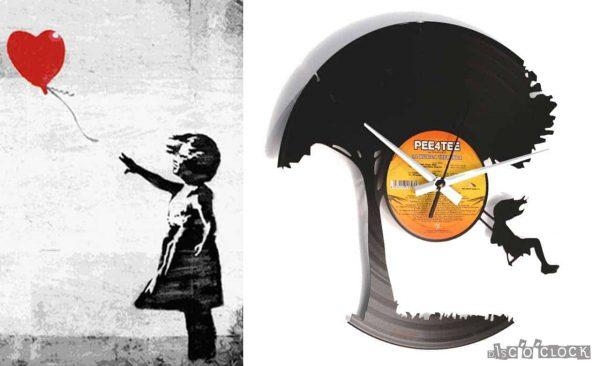Orologio da parete con disco in vinile a tema graffiti