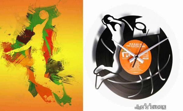 Orologio da parete con disco in vinile a tema pallacanestro basket