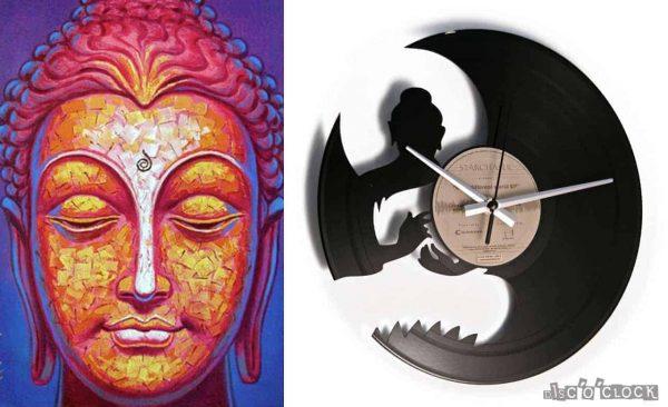 Orologio da parete con disco in vinile con buddha