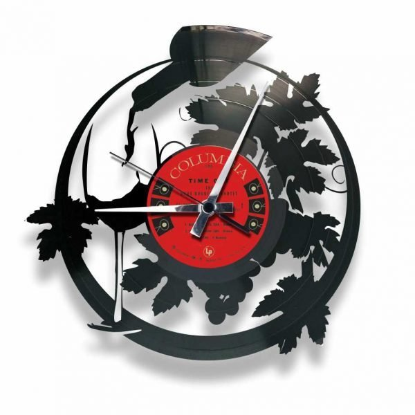 wine lover record clock