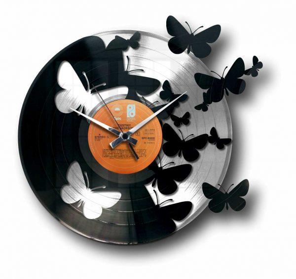 butterflies silver vinyl record clock