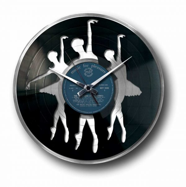 ballet silver vinyl record clock
