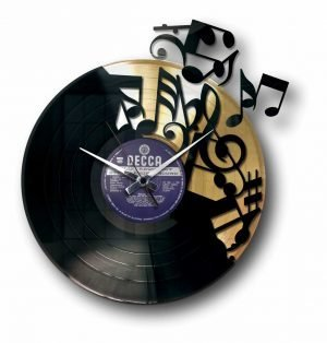 gold vinyl record clock with music notes