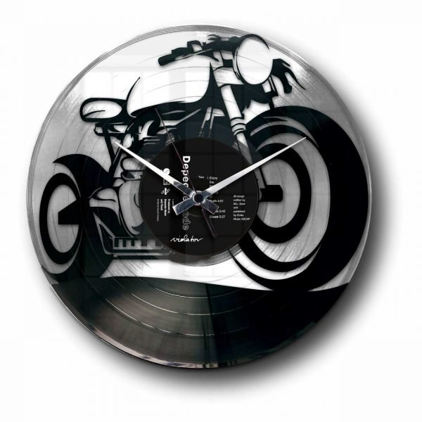 gold or silver motor bike vinyl clock